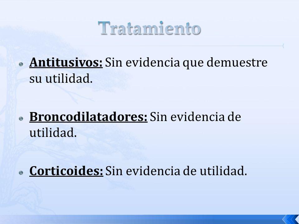 Tratamiento Antitusivos: Sin evidencia que demuestre su utilidad.