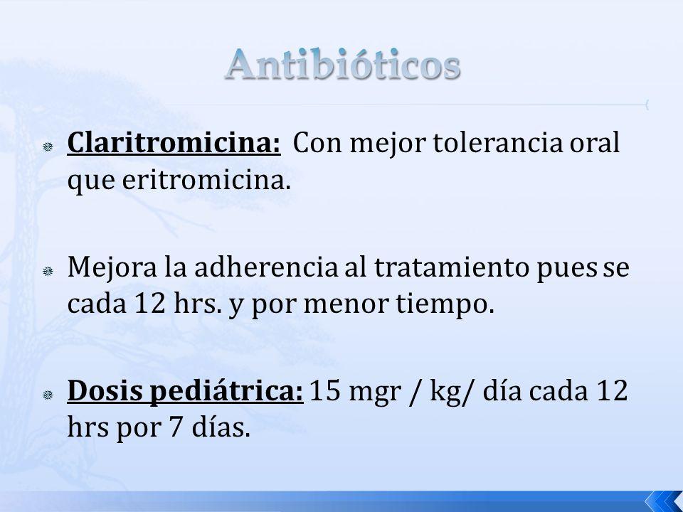 Antibióticos Claritromicina: Con mejor tolerancia oral que eritromicina.