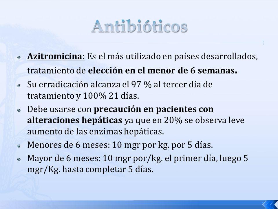 Antibióticos Azitromicina: Es el más utilizado en países desarrollados, tratamiento de elección en el menor de 6 semanas.