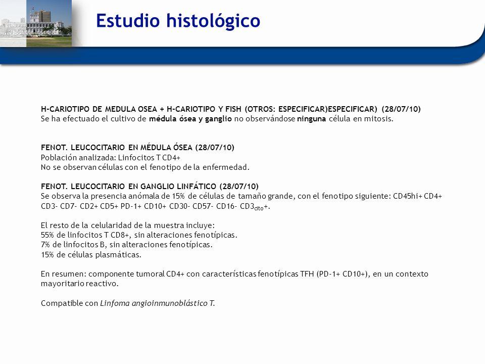 Estudio histológico H-CARIOTIPO DE MEDULA OSEA + H-CARIOTIPO Y FISH (OTROS: ESPECIFICAR)ESPECIFICAR) (28/07/10)