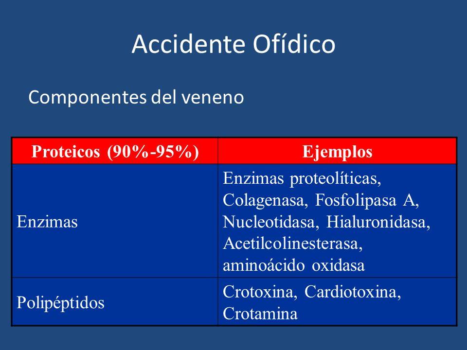 Accidente Ofídico Componentes del veneno Proteicos (90%-95%) Ejemplos