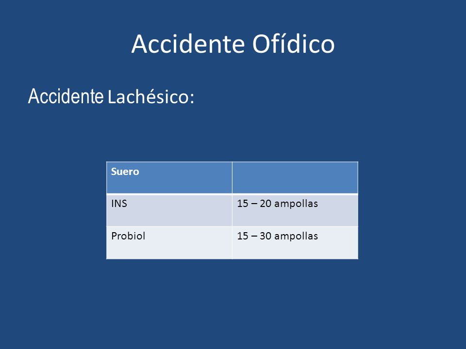 Accidente Ofídico Accidente Lachésico: Suero INS 15 – 20 ampollas