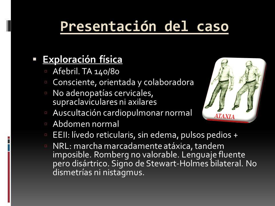 Presentación del caso Exploración física Afebril. TA 140/80