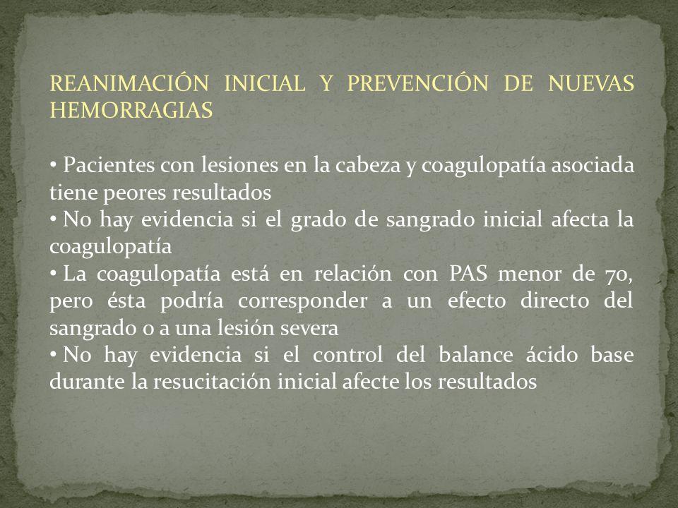 REANIMACIÓN INICIAL Y PREVENCIÓN DE NUEVAS HEMORRAGIAS