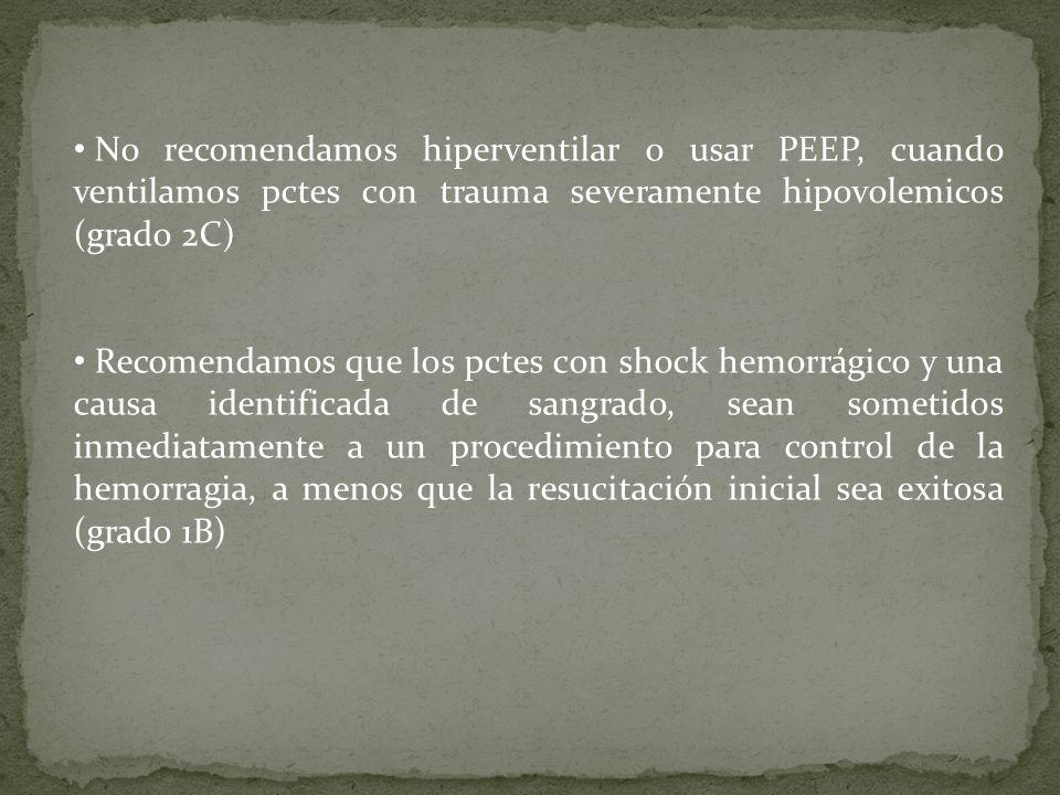 No recomendamos hiperventilar o usar PEEP, cuando ventilamos pctes con trauma severamente hipovolemicos (grado 2C)
