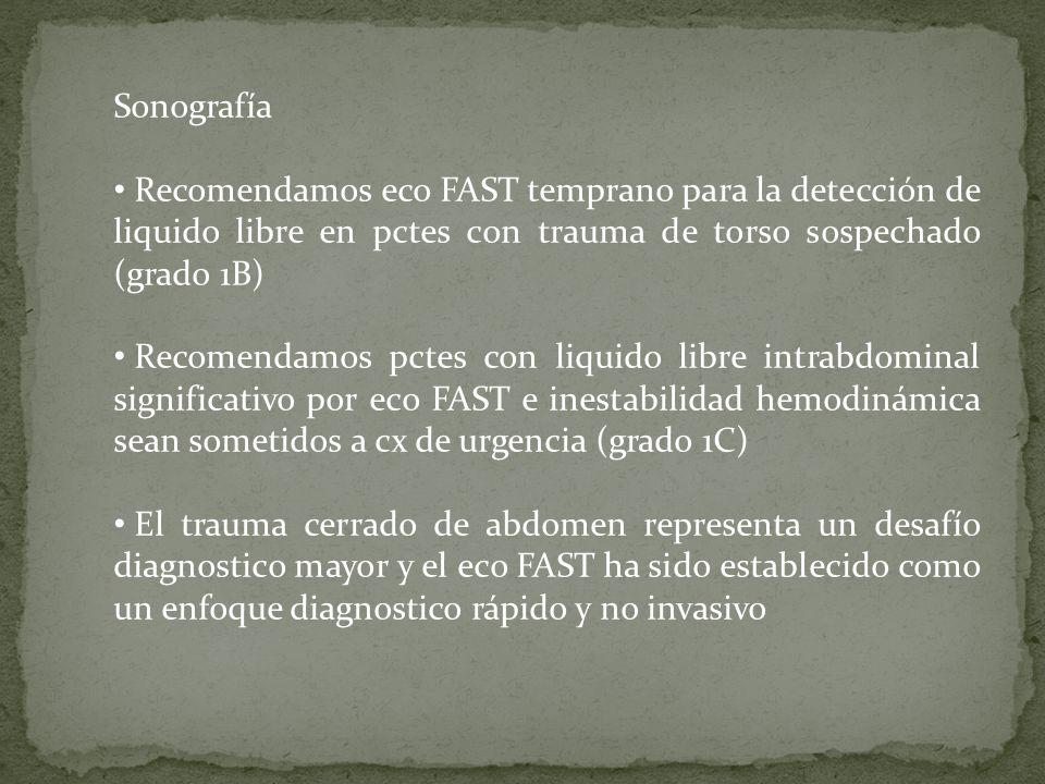 Sonografía Recomendamos eco FAST temprano para la detección de liquido libre en pctes con trauma de torso sospechado (grado 1B)