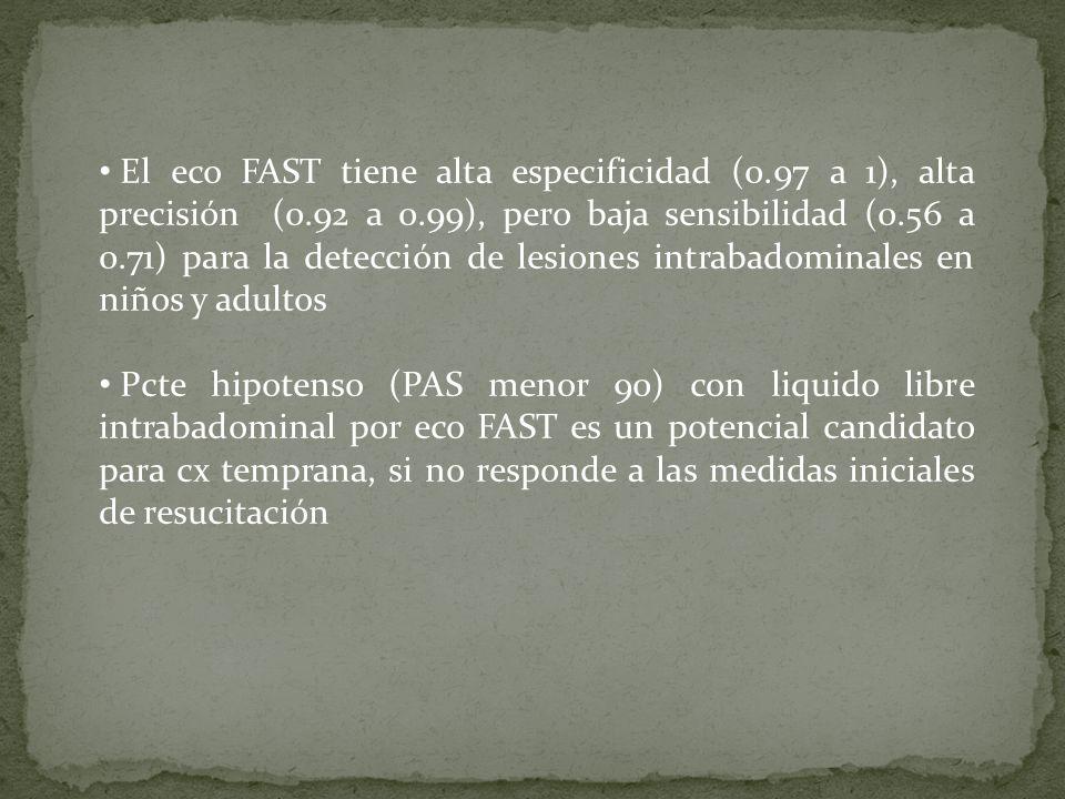 El eco FAST tiene alta especificidad (0. 97 a 1), alta precisión (0