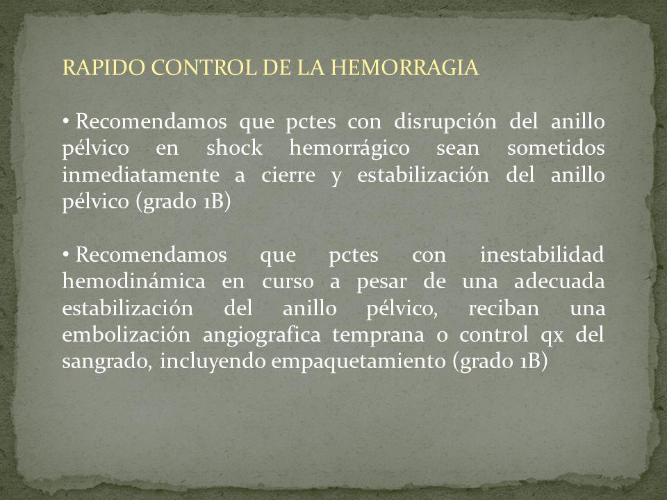 RAPIDO CONTROL DE LA HEMORRAGIA