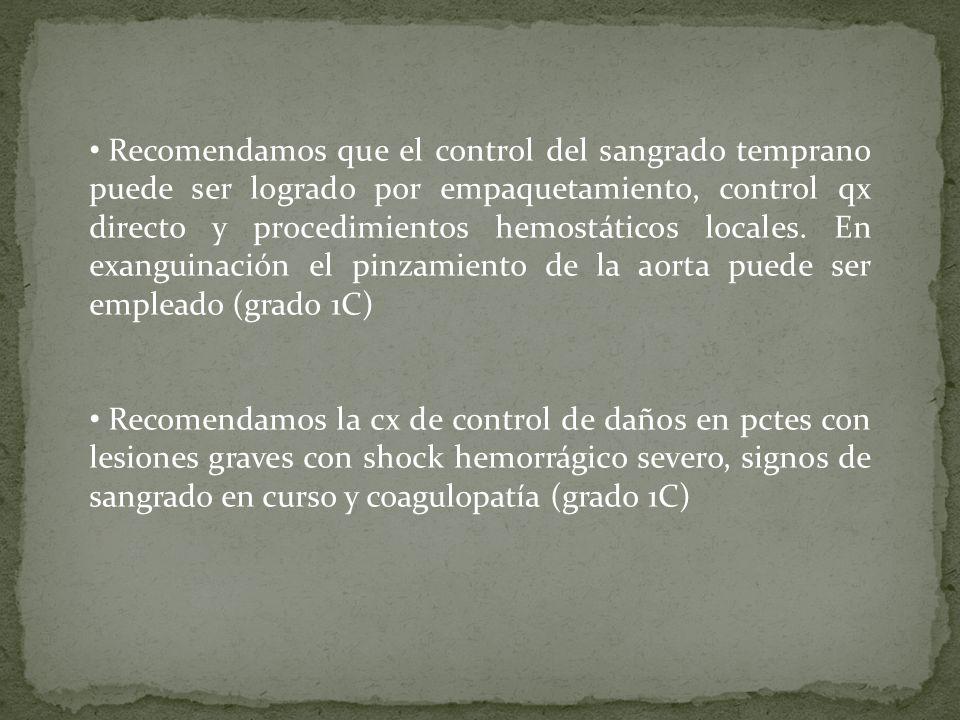 Recomendamos que el control del sangrado temprano puede ser logrado por empaquetamiento, control qx directo y procedimientos hemostáticos locales. En exanguinación el pinzamiento de la aorta puede ser empleado (grado 1C)