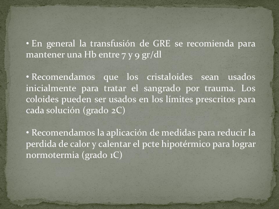 En general la transfusión de GRE se recomienda para mantener una Hb entre 7 y 9 gr/dl