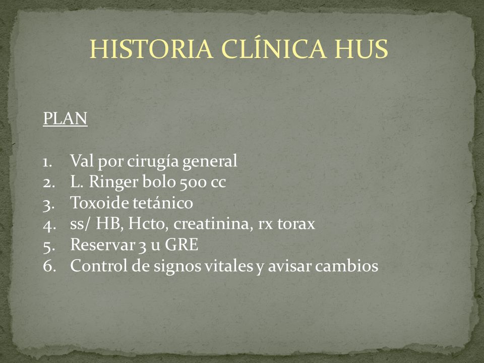 HISTORIA CLÍNICA HUS PLAN Val por cirugía general