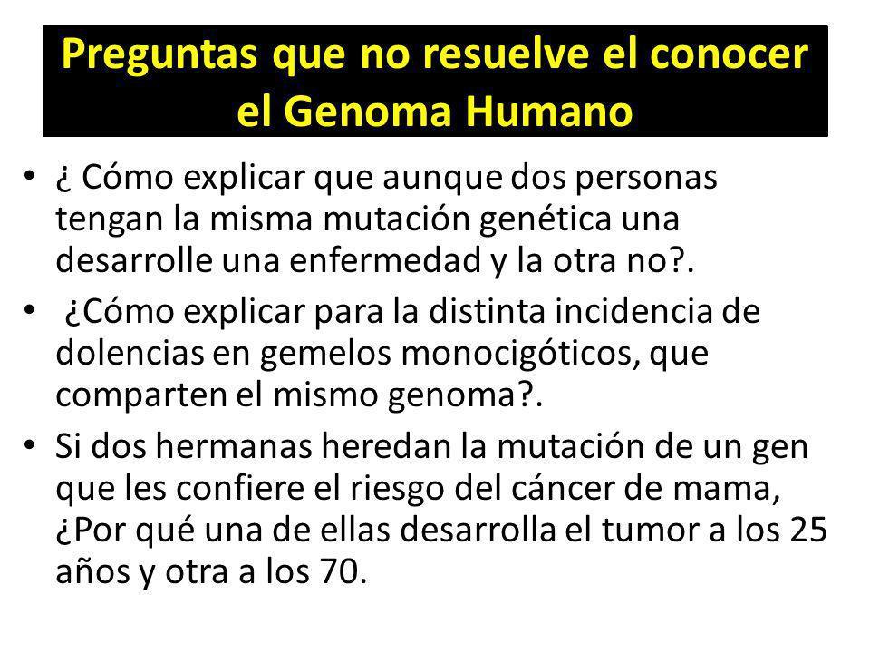 Preguntas que no resuelve el conocer el Genoma Humano