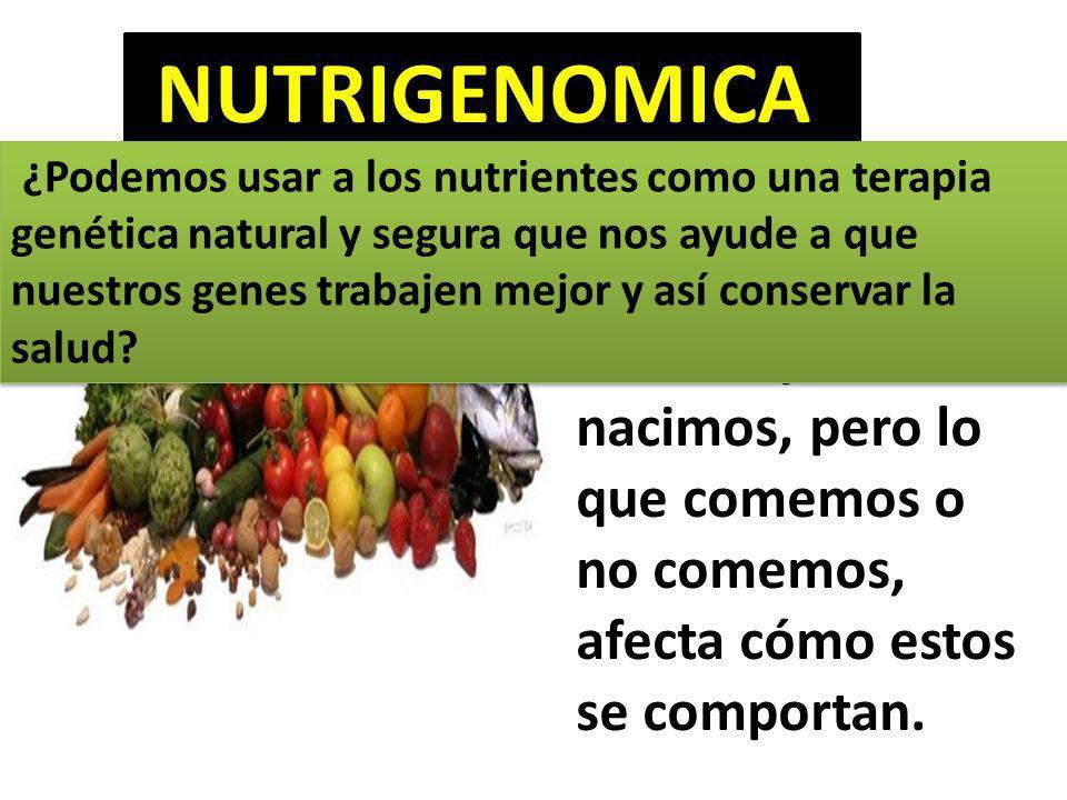 NUTRIGENOMICA Puede que siempre tengamos los mismos genes con los que nacimos, pero lo que comemos o no comemos, afecta cómo estos se comportan.