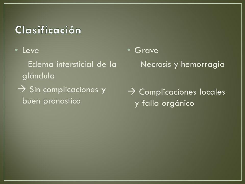 Clasificación Leve Edema intersticial de la glándula