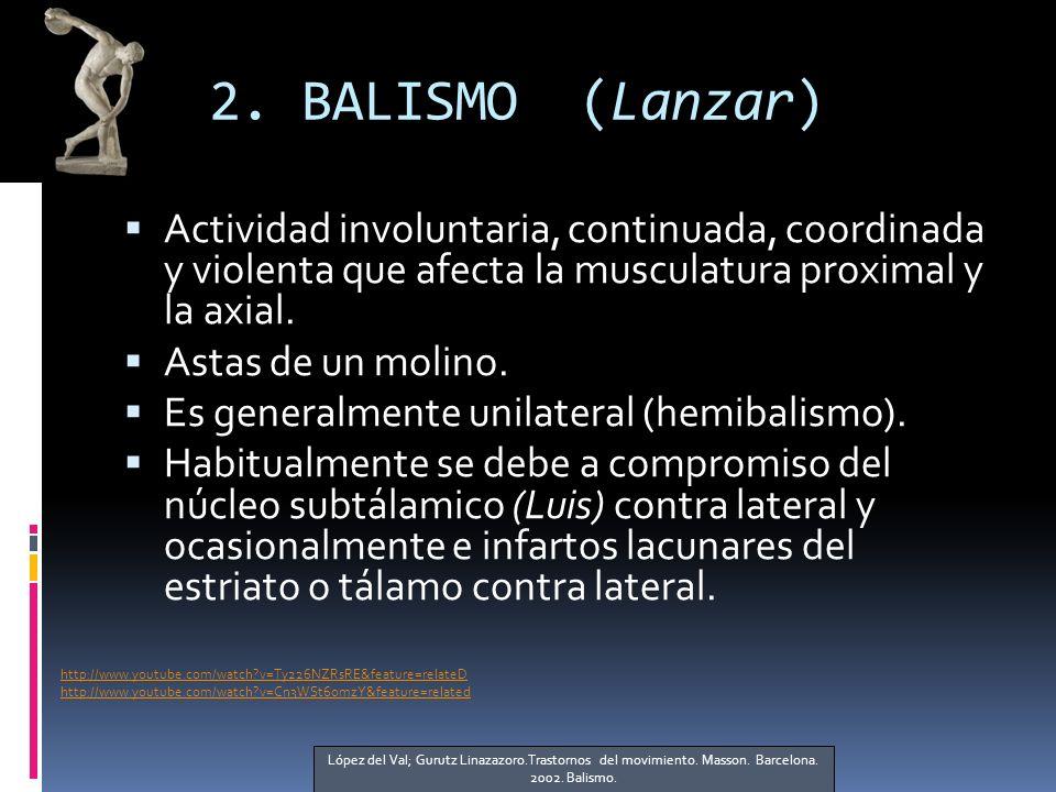 2. BALISMO (Lanzar) Actividad involuntaria, continuada, coordinada y violenta que afecta la musculatura proximal y la axial.