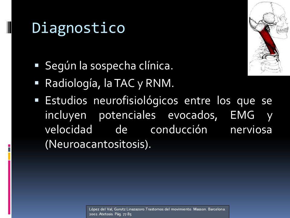 Diagnostico Según la sospecha clínica. Radiología, la TAC y RNM.