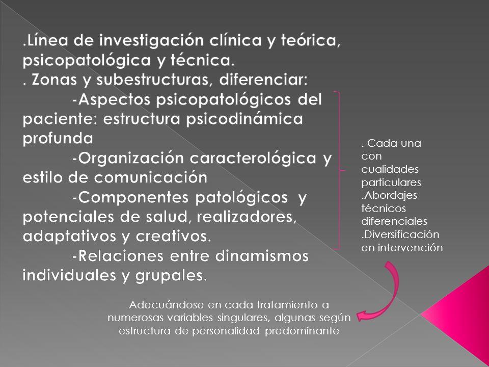 .Línea de investigación clínica y teórica, psicopatológica y técnica.