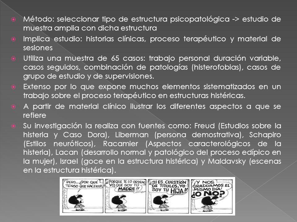 Método: seleccionar tipo de estructura psicopatológica -> estudio de muestra amplia con dicha estructura
