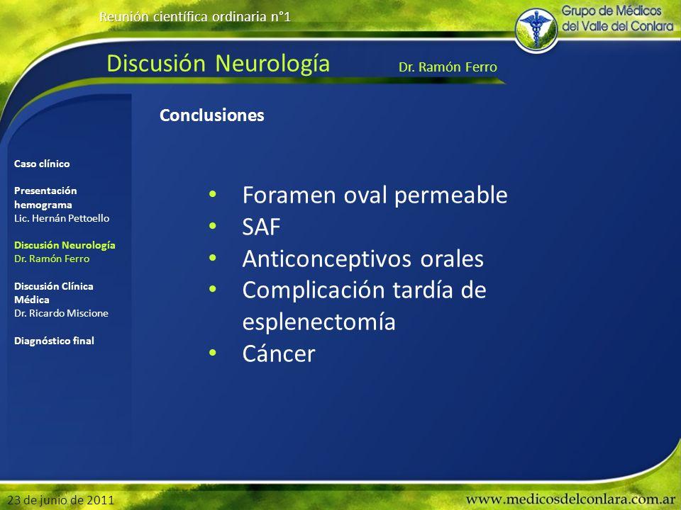 Discusión Neurología Dr. Ramón Ferro