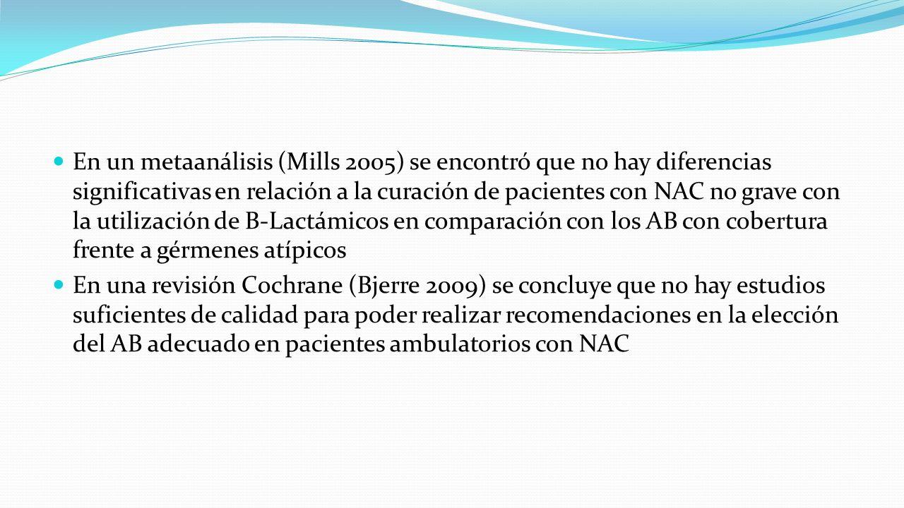 En un metaanálisis (Mills 2005) se encontró que no hay diferencias significativas en relación a la curación de pacientes con NAC no grave con la utilización de B-Lactámicos en comparación con los AB con cobertura frente a gérmenes atípicos
