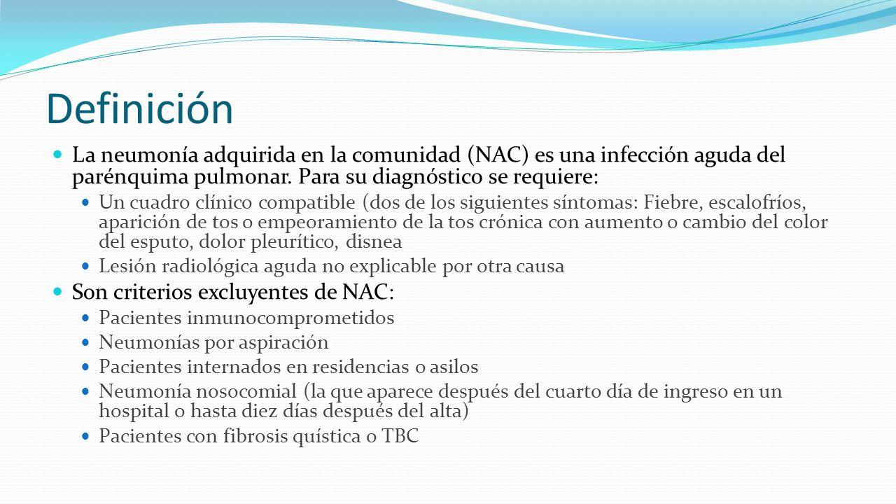 Definición La neumonía adquirida en la comunidad (NAC) es una infección aguda del parénquima pulmonar. Para su diagnóstico se requiere: