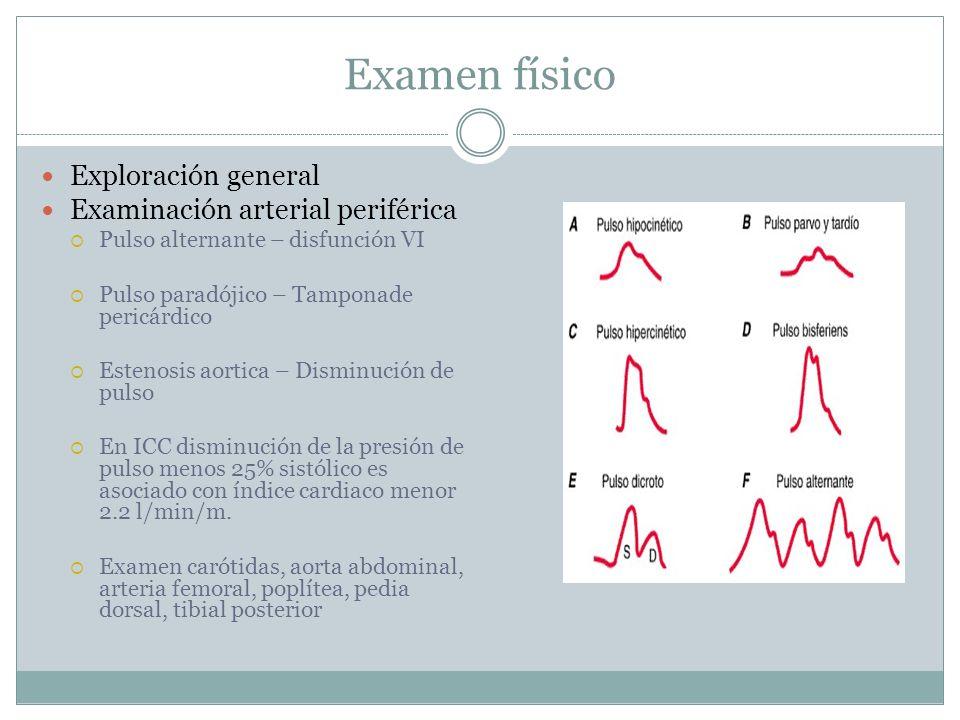 Examen físico Exploración general Examinación arterial periférica