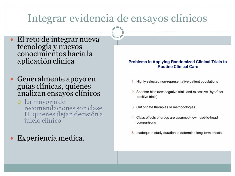 Integrar evidencia de ensayos clínicos
