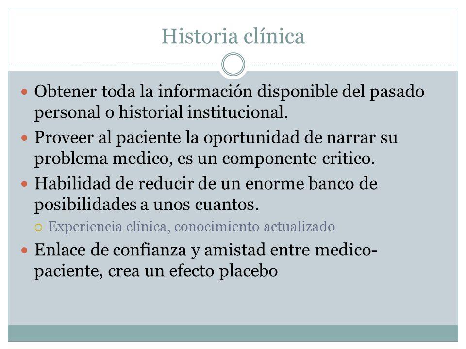 Historia clínica Obtener toda la información disponible del pasado personal o historial institucional.