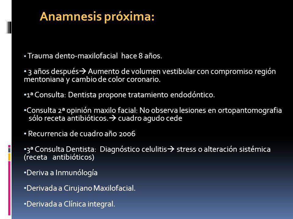 Anamnesis próxima: Trauma dento-maxilofacial hace 8 años.