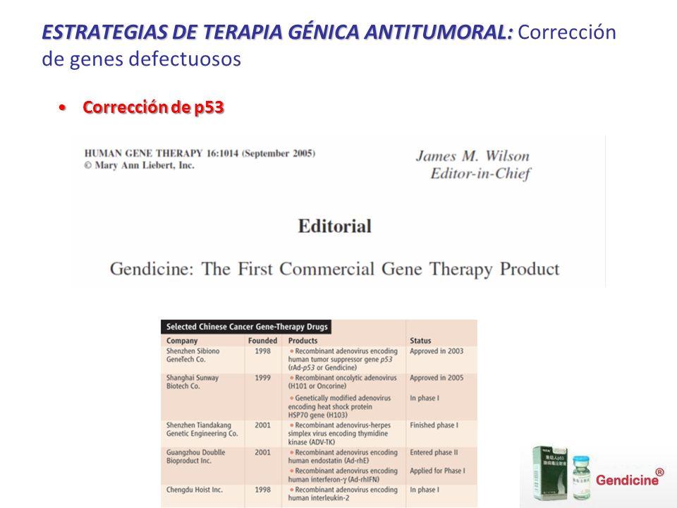 ESTRATEGIAS DE TERAPIA GÉNICA ANTITUMORAL: Corrección de genes defectuosos
