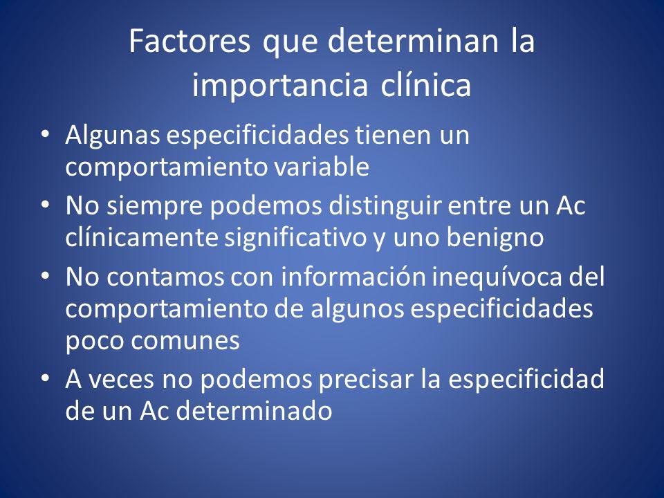 Factores que determinan la importancia clínica
