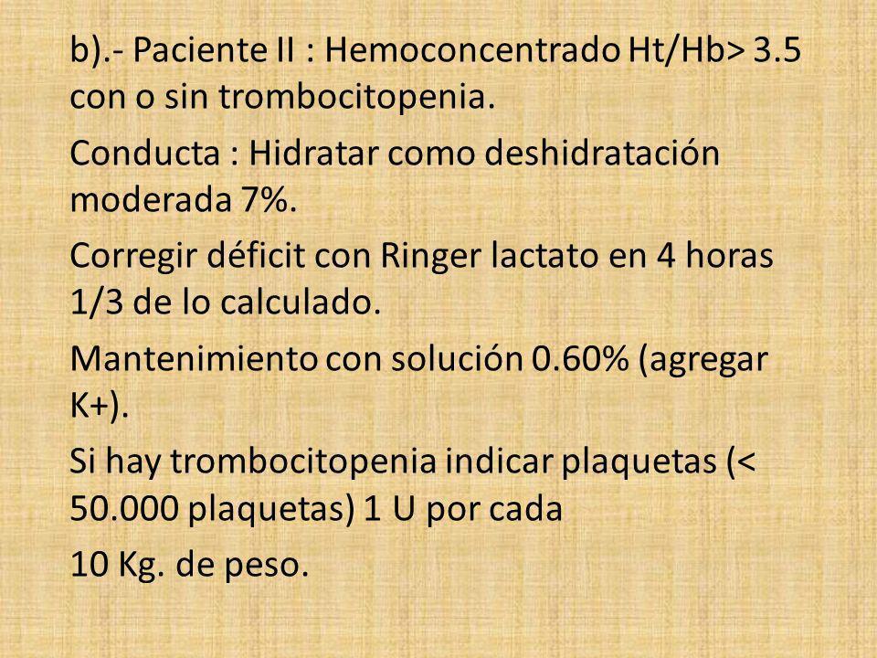b). - Paciente II : Hemoconcentrado Ht/Hb> 3