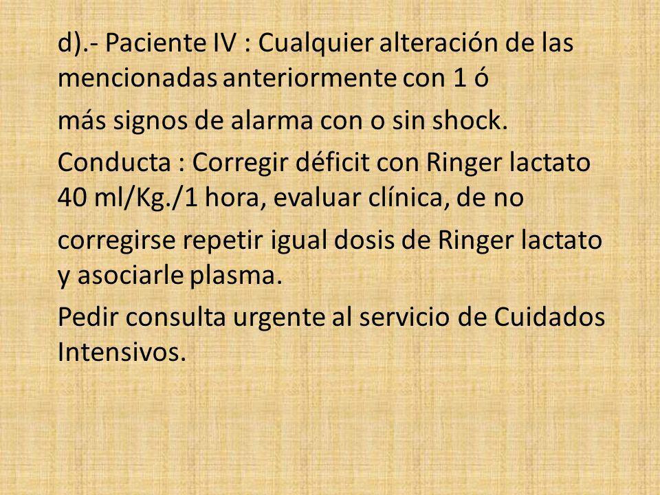 d).- Paciente IV : Cualquier alteración de las mencionadas anteriormente con 1 ó más signos de alarma con o sin shock.