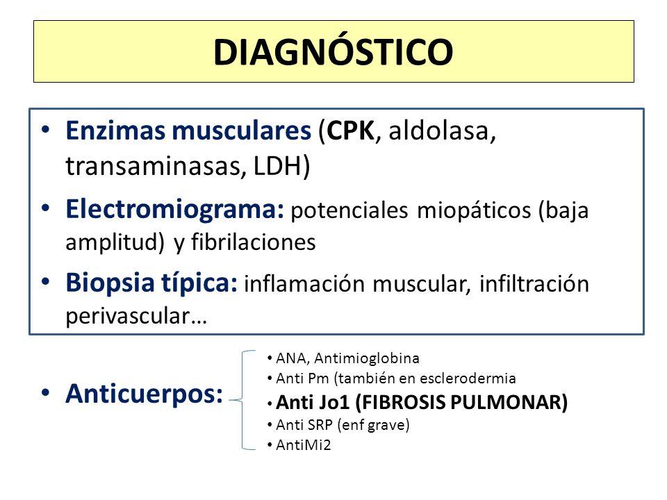 DIAGNÓSTICO Enzimas musculares (CPK, aldolasa, transaminasas, LDH)