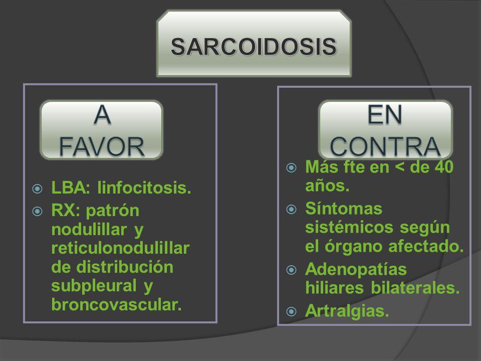 A FAVOR EN CONTRA SARCOIDOSIS LBA: linfocitosis.
