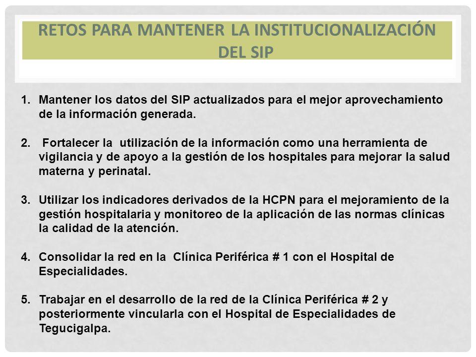 Retos para mantener la institucionalización del SIP