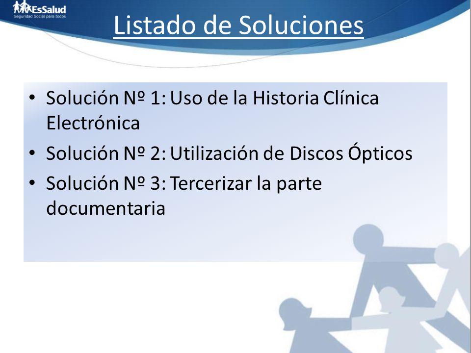 Listado de Soluciones Solución Nº 1: Uso de la Historia Clínica Electrónica. Solución Nº 2: Utilización de Discos Ópticos.