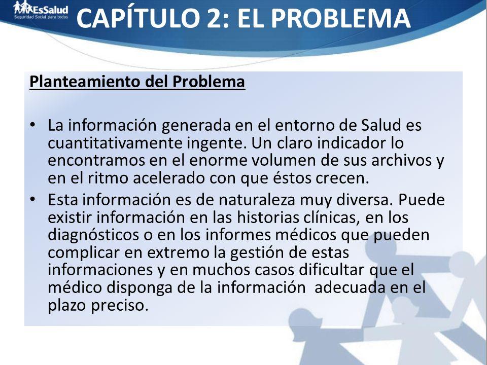 CAPÍTULO 2: EL PROBLEMA Planteamiento del Problema