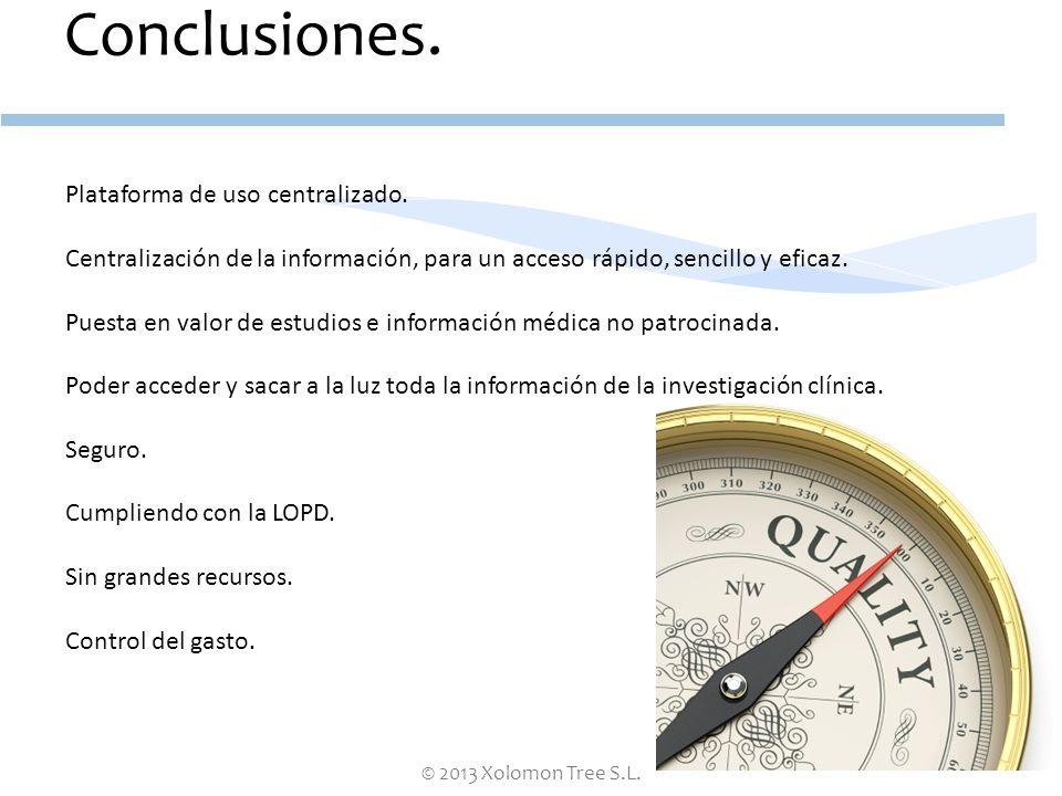 Conclusiones. Plataforma de uso centralizado.