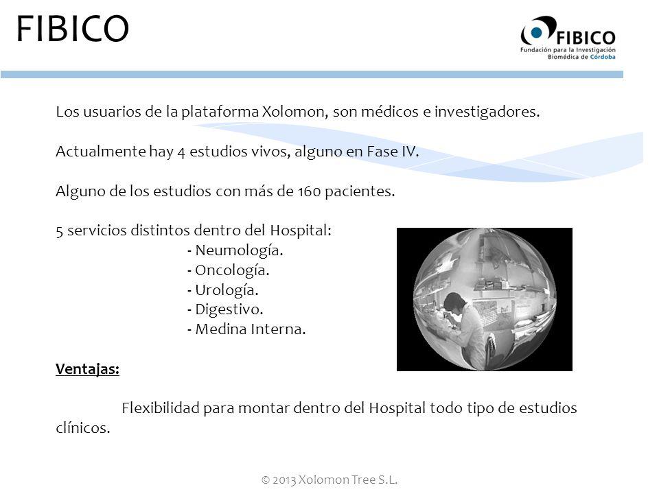 FIBICO Los usuarios de la plataforma Xolomon, son médicos e investigadores. Actualmente hay 4 estudios vivos, alguno en Fase IV.
