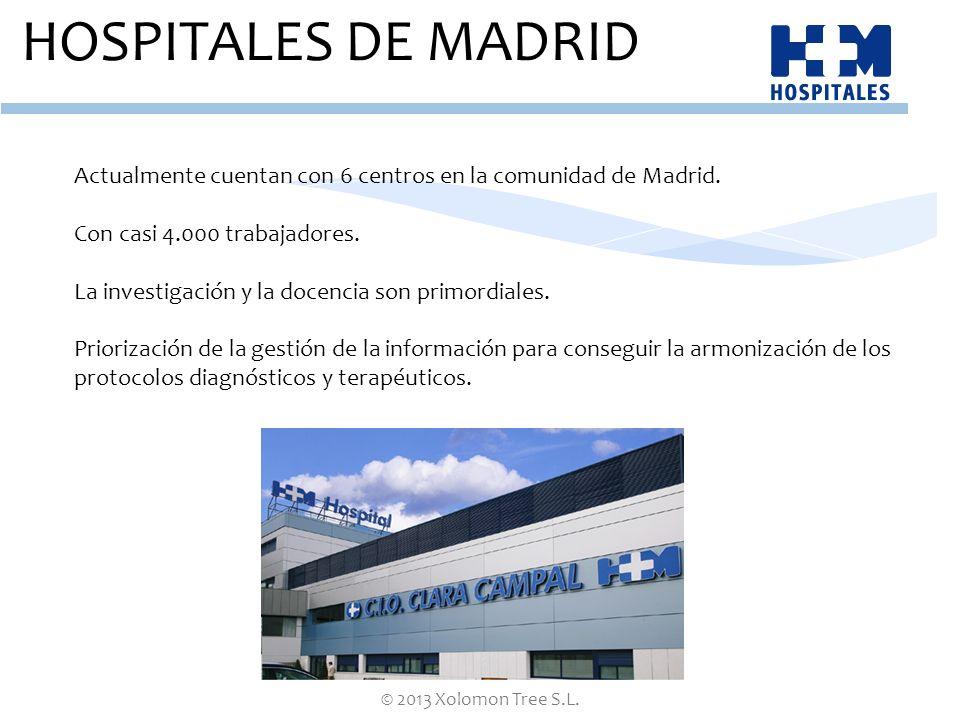 HOSPITALES DE MADRID Actualmente cuentan con 6 centros en la comunidad de Madrid. Con casi 4.000 trabajadores.