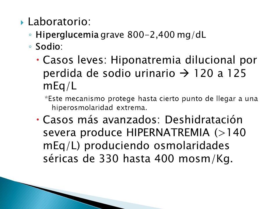 Laboratorio: Hiperglucemia grave 800-2,400 mg/dL. Sodio: Casos leves: Hiponatremia dilucional por perdida de sodio urinario  120 a 125 mEq/L.