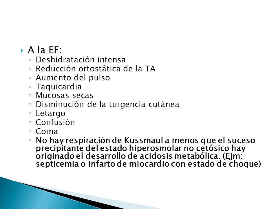 A la EF: Deshidratación intensa Reducción ortostática de la TA