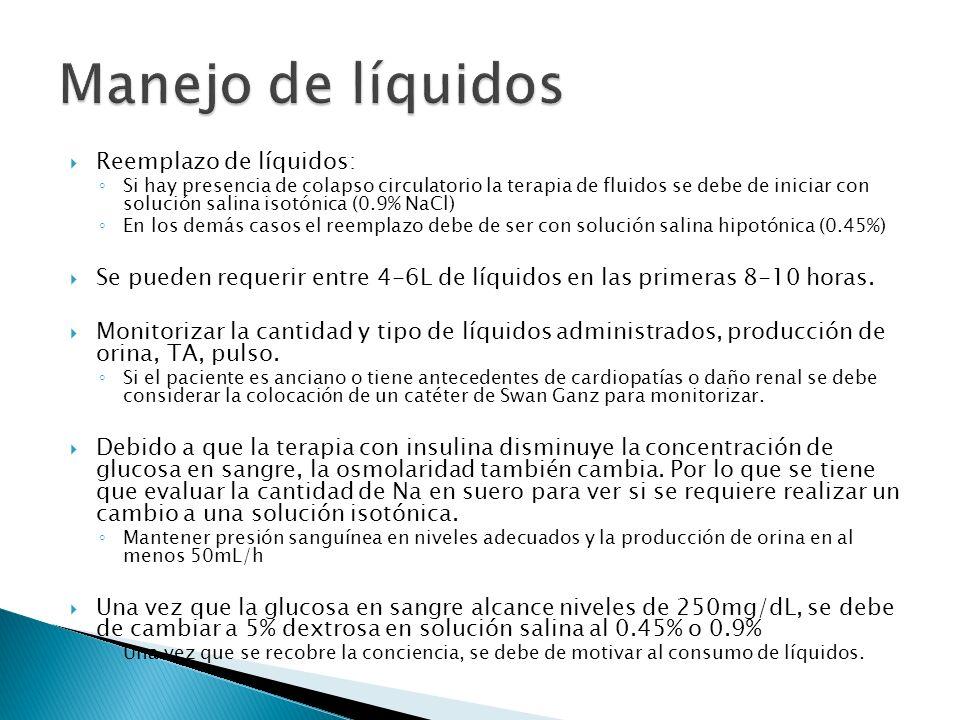 Manejo de líquidos Reemplazo de líquidos: