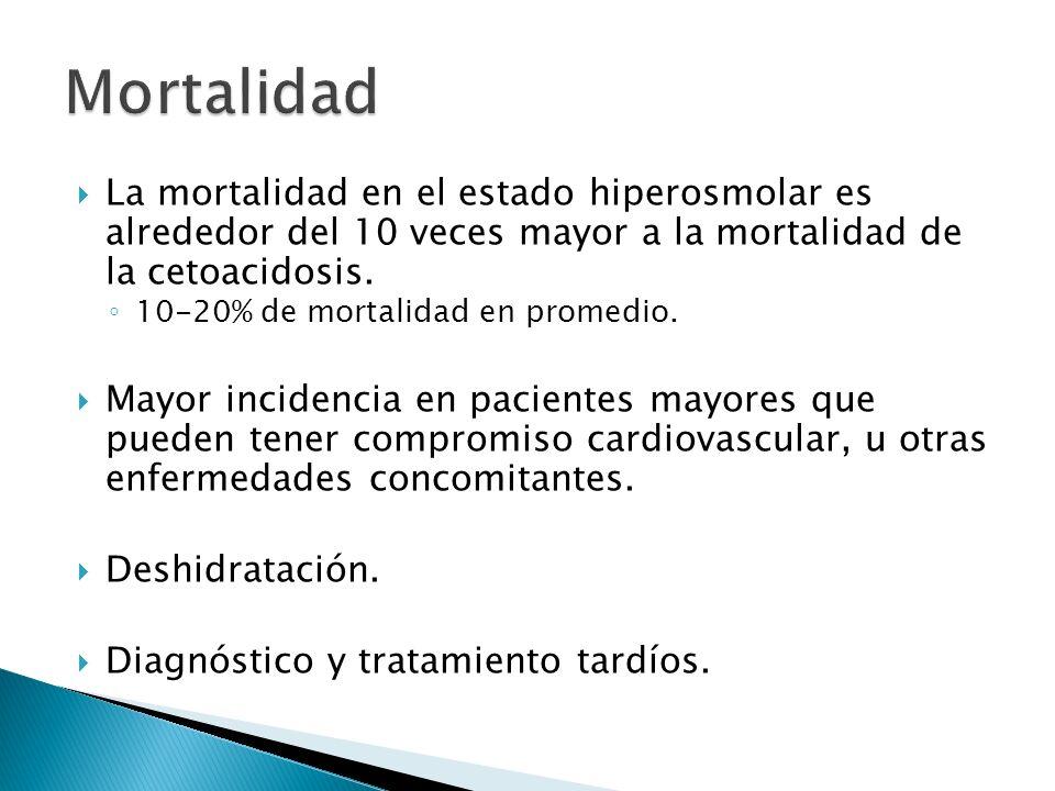 Mortalidad La mortalidad en el estado hiperosmolar es alrededor del 10 veces mayor a la mortalidad de la cetoacidosis.