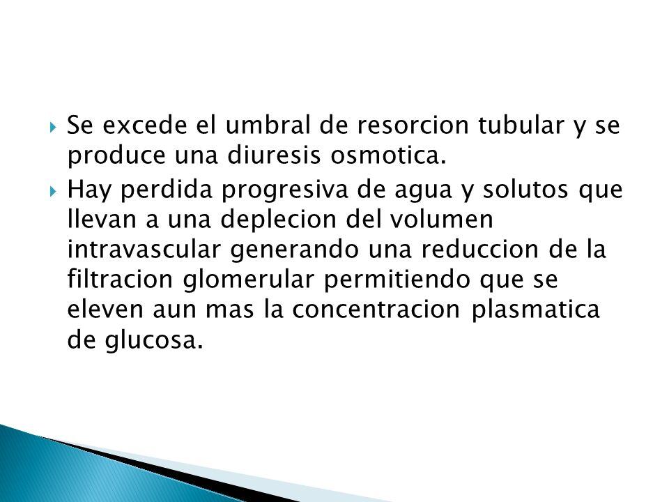 Se excede el umbral de resorcion tubular y se produce una diuresis osmotica.