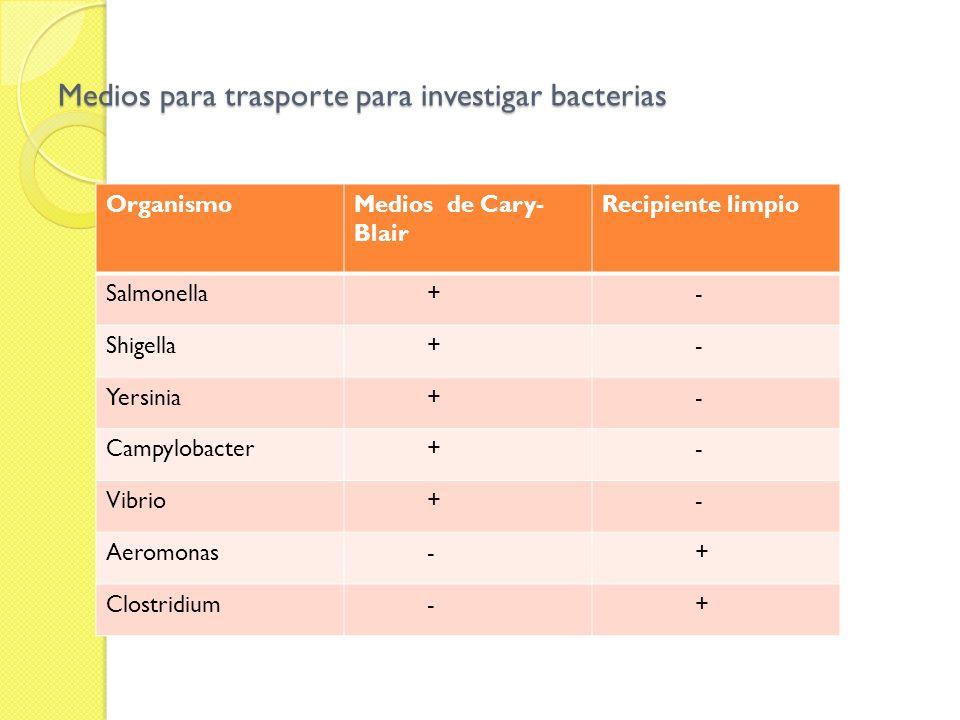 Medios para trasporte para investigar bacterias