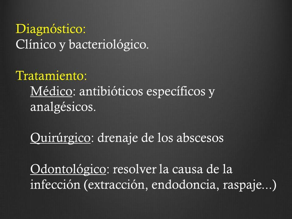 Diagnóstico: Clínico y bacteriológico. Tratamiento: Médico: antibióticos específicos y analgésicos.