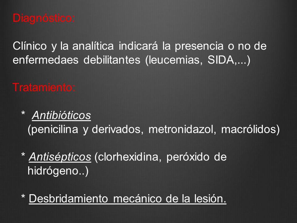 Diagnóstico: Clínico y la analítica indicará la presencia o no de. enfermedaes debilitantes (leucemias, SIDA,...)