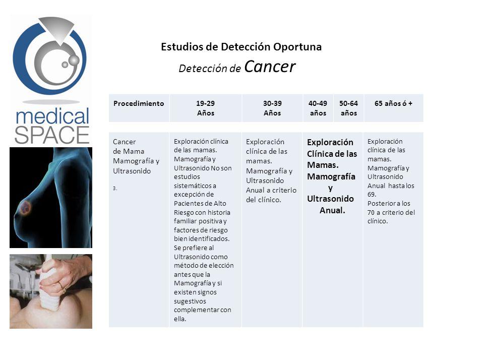 Estudios de Detección Oportuna Detección de Cancer